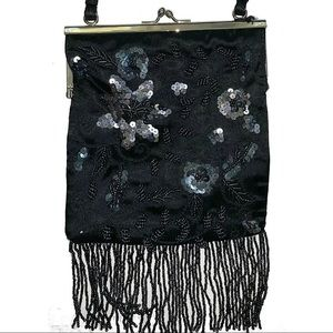 BEBE Black Sequin Embellished Shoulder Bag Clutch